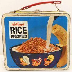 Vintage 1969 Kellogg's Cereals Rice Crispies metal lunch box.