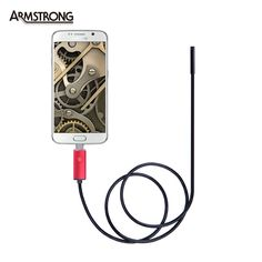 5.5mm Lens Red USB Endoscope IP67 Waterproof Camera 2 In 1 Endoscope 2M, 6 LED Mini Snake Camera Android OTG Phone Endoscopio