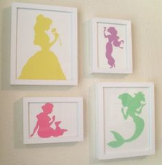 Set of 4 Princess Silhouettes (Reserved for Ktdid452)