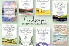 Landscape Invitation Collection by Knotted Design on @creativemarket