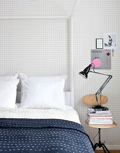 Navy bedspread (and graph paper wallpaper). Home Bedroom, Bedroom Decor, Bedrooms, Grid Wallpaper, Paper Wallpaper, My New Room, Interiores Design, Ideal Home, Decoration