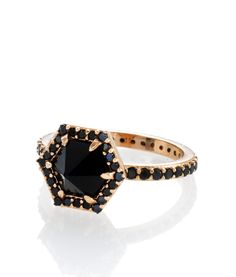 Henri Bendel Luxe Hex Semi Precious Ring in Onyx/Rose Gold ($118), available in Henri Bendel stores nationwide.