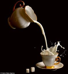 Among his methods he dropped sugar cups, threw cups into the air or pouring milk into tea and coffee