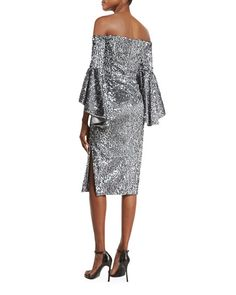 Off-the-Shoulder Sequined Cocktail Dress, Gunmetal