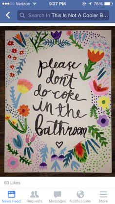 Please don't do coke in the bathroom floral sassy canvas art