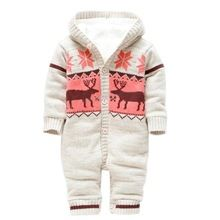 Baby Rompers Winter Thick Climbing Clothes Newborn Boys Girls Warm Romper Knitted Sweater Christmas Deer Hooded Outwear CL0491(China (Mainland))
