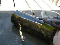 cut wine bottles with a dremmel