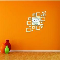 Moderné nalepovacie hodiny zrkadlové štvorčeky.