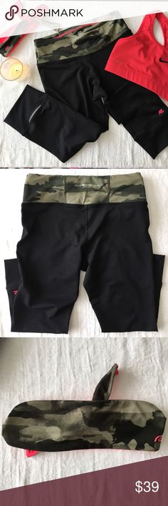 Camo dri-fit pants and hair band! BRAND NEW SET!  Roadrunner workout capris.  Reflectors on the back.  Matching coral and camo sweat band!  Amazing quality roadrunner sports Pants Track Pants & Joggers