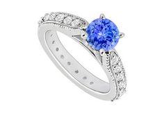 14K White Gold  Tanzanite and Diamond Engagement Ring 0.85 CT TGW