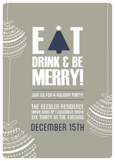 Festive Christmas Party Invitation - Ornament & Typographic