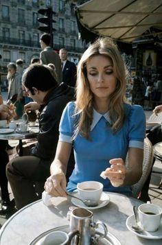 Sharon Tate at Café de Flore, Paris, 1968