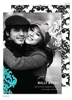 Damask Portrait Photo Save the Date Cards