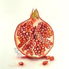 Granada arte Print / acuarela pintura / fruta arte / por LaBerge