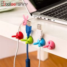 6pcs/pack Silicone USB Cable Storage Rack Cute Rabbit Shape Headphone Cable Organizer Clip USB Charger Cord Holder Random Color