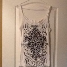 Super cute tank top White/black/gray tank top. Very comfortable. Mudd Tops Tank Tops
