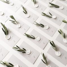 We love the olive branch details on these escort cards! And don't even get us started on those white wax seals!•Escort Cards @lotusandash / Wax Seals @artisaire