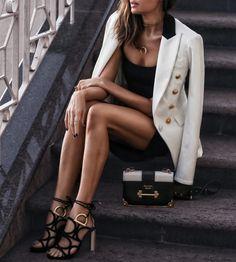 January 9, 2018 Resort Wear: The White Blazer - Blazer: Veronica Beard Dress: Susana Monaco Shoes: Salvatore Ferragamo Bag: Prada Necklaces: Parpala Sunglasses: Quay