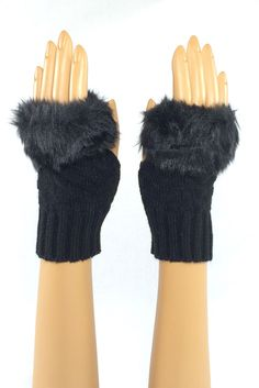 Black Wrist Length Faux Fur Fingerless Gloves  Stroke me, stroke me! Or so the song goes... And yes, the faux fur on these pups is as soft as it looks. Perfect for brushing that snowflake from your cheek when the rest of your world is making you chapped and raw. #fingerless #fashion #crochet