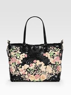 Valentino Rose Chiffon & Sequin Glam Tote Bag