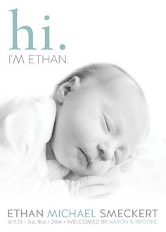 Birth Announcement - Ethan on Behance
