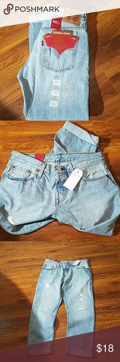 BNWT Levi's 501ct Jeans Customized & Tappered Botton Fly 27X32 Levi's Jeans Boyfriend