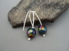Black Fire Earrings Sterling Silver Fire by TheSilverForge on Etsy, $29.00