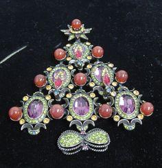 heidi daus vintage christmas tree brooch. jh