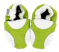Lauflernschuhe Sport von HOBEA-Germany  - sportliche Babyschuhe Hausschuhe Krabbelschuhe Lederpuschen Modell Sport in grün von HOBEA-Germany