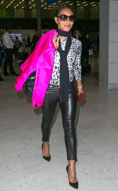 Jada Pinkett Smith, in oversized butterfly sunnies, added a pop of color to her black 'n' white ensemble with an electric pink jacket!