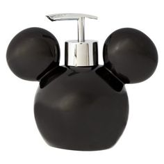 Fans of Disney will love this minimalistic Mickey Mouse soap pump. The bathroom accessory features a black representation of Mickey's head. It can be filled with soap or lotion. The plastic exterior c Mickey Mouse Bathroom, Mickey Mouse House, Mickey Mouse Kitchen, Disney Kitchen, Mickey Minnie Mouse, Casa Disney, Disney Rooms, Disney Nursery, Disney Disney