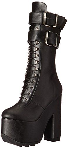 6 1/4 (16cm) block heel, 3 (7.5cm) ridged platform lace-up front knee high boot w/double buckled straps, inside zip closure   Heel: 6 1/4″, platform: 3″   - #Shoes  #Fashion #Style #Highheels #Heels #Booth