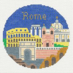 "Silver Needle ROME, ITALY handpainted 4.25"" Round Needlepoint Canvas Ornament #SilverNeedle -- ebay seller cashaw47"