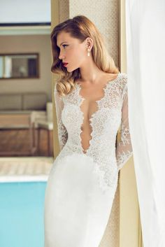 Lace plunge wedding dress | The Orchid Collection by Julie Vino