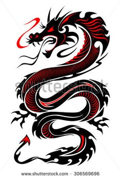 Flaming tribal dragon tattoo vector illustration in black and red colors