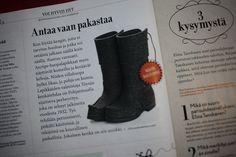 Töysän kenkätehtaan Arctips-saappaat Voi Hyvin -lehdessä tammikuussa 2012.