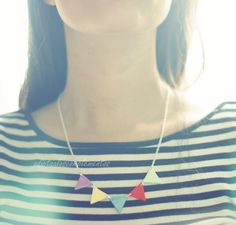 Necklace Garland. Beauty and Geometric Triangle  Bunting Necklace. $17.00, via Etsy.