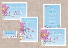 Lila Blume individuelle kreative Hochzeitskarten