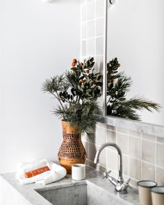 Living Still Life, Classic Bathroom, Christmas Tree, Table Decorations, Holiday Decor, Instagram, Plants, Inspiration, Beach House