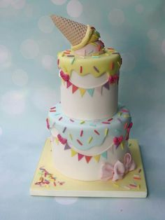 Learn how to make a cute and easy Ice Cream Cone cake in our free cake decorating video tutorial! Ice Cream Birthday Cake, Birthday Cake Girls, 2nd Birthday, Birthday Ideas, Ice Cream Theme, Ice Cream Candy, Cupcakes, Cupcake Cakes, Ice Cream Social