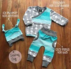 ♡ Schnittmuster Hose Cozy Pants von Kid5 - Pullover Trotzkopf von Schnabelina Freebook - Mütze Icy Minimop von AefflynS Freebook - Nähen - Baby - Newborn - Sewing - Pattern - Neugeborene - Babyoutfit - Outfit - Babyjunge - Kliniktasche - Astrokatze