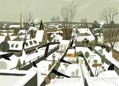 Thick snow in London: Illustration by Matthew Cruickshank Art And Illustration, Illustrations Posters, London Illustration, Environment Concept Art, Environment Design, London Snow, Tinta China, Art Thou, Animation Background