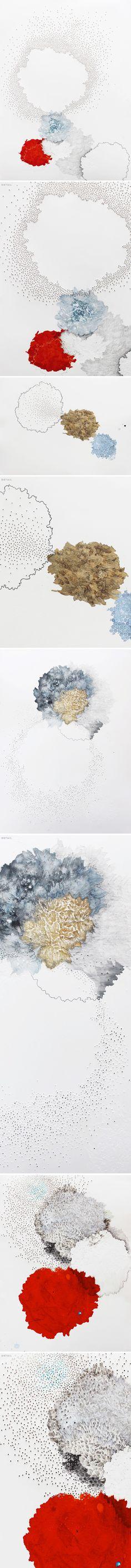 melinda schawel - ink, pencil, perforated paper <3
