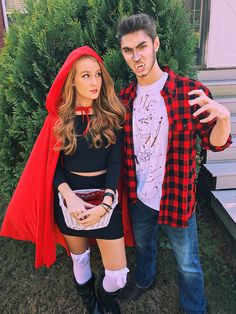 DIY couple Halloween costume little red riding hood and big bad wolf  werewolf halloween diy couplescostume costume halloween2017 makeup
