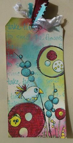 Good journal idea... Tag gemaakt met jofy Love Bird mini en jofy vogeltje set en jofy set 09 en paperartsy fresco paint.