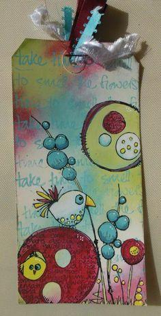Tag gemaakt met jofy Love Bird mini en jofy vogeltje set en jofy set 09 en paperartsy fresco paint.