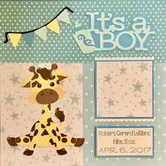 Baby Boy Pre Made Scrapbook Page Birth Announcement custom by dldesignstudio on Etsy