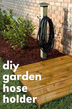 Garden Yard Ideas, Backyard Projects, Outdoor Projects, Lawn And Garden, Garden Posts, Garden Water, Patio Ideas, Garden Hose Holder, Garden Hose Storage