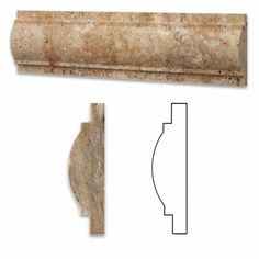 Scabos Travertine Honed 3 X 12 Arch / Baldwin Trim Molding - Box of 5 pcs.