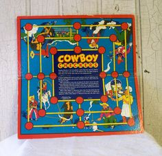 board games from the 1950's | Cowboy Checkers - 1950s Game Board - TREASURY ITEM